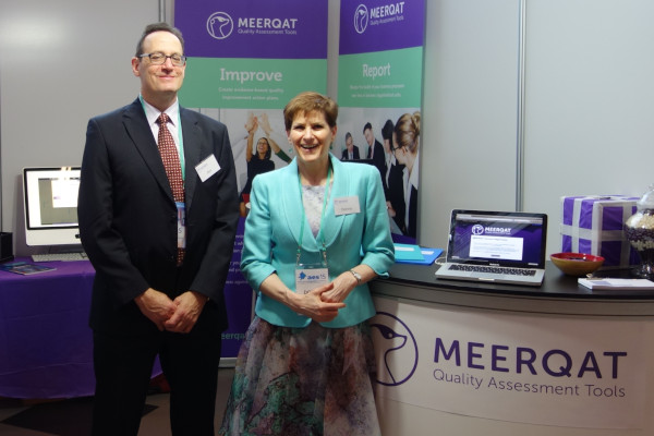 Donna and Phil Cohen manning the MEERQAT booth at the AES 2015 conference
